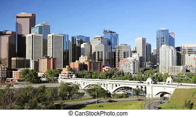 Traffic going into Downtown Calgary