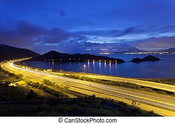 Traffic highway in city at night