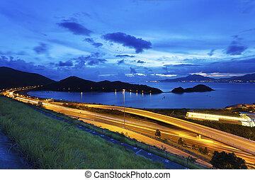 Traffic highway in Hong Kong at night