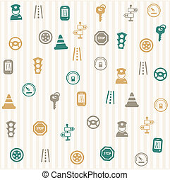 Traffic icons seamless pattern