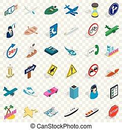 Traffic icons set, isometric style