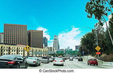 Traffic in 110 freeway in Los Angeles