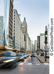 Traffic in Chicago city center, Illinois, USA