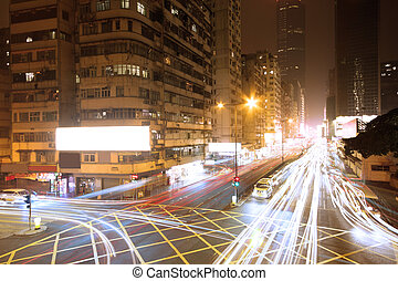 Traffic in downtown at night,hongko
