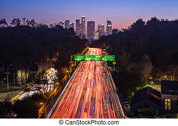 Traffic in downtown Los Angeles, California at night