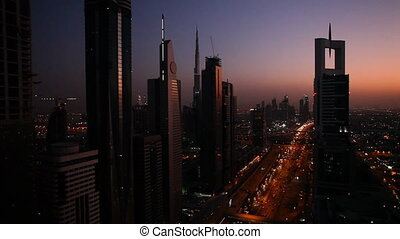 traffic in dubai city right after sunset