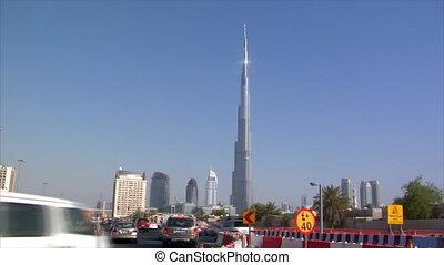 traffic in front of burj Dubai - DUBAI - SEPTEMBER 9: A...