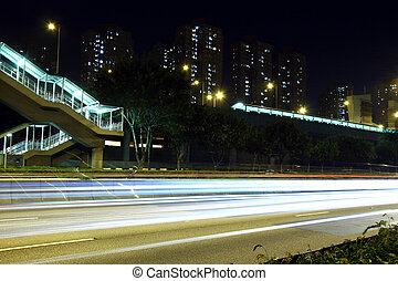 Traffic in highway of Hong Kong at night