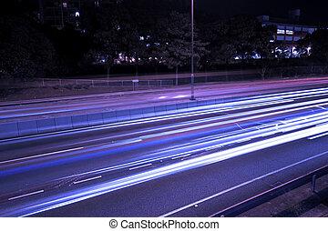 Traffic in highway of Hong Kong at night