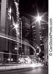 Traffic in Hong Kong at night in black and white toned