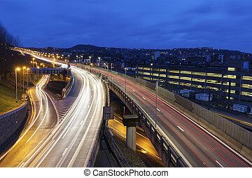 Traffic in Liege at dawn. Liege, Wallonia, Belgium.