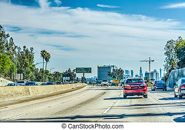 Traffic in Los Angeles on a cloudy day