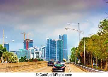 Traffic in Miami at sunset