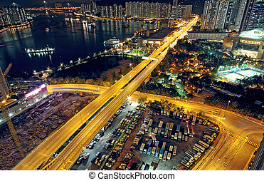 traffic in modern city at night