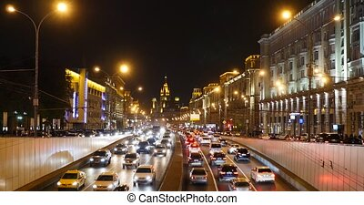 Traffic in night city - Moscow, Garden Ring road