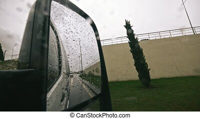 Traffic in Rain from rearview mirror, Driving Car, Storm on...