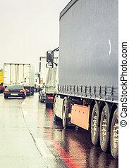 traffic in rainy road