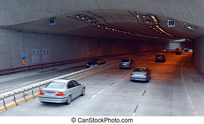 SAN FRANCISCO - MAY 21 2015:Traffic in San Francisco parkway tunnels. The Presidio Parkway is a regional gateway between the iconic Golden Gate Bridge and the city of San Francisco.