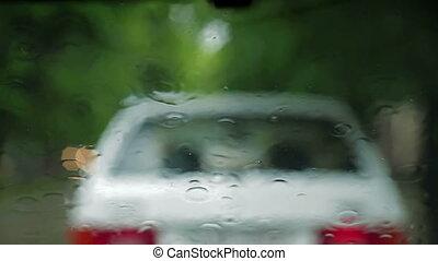 Traffic In the City. Heavy Rain