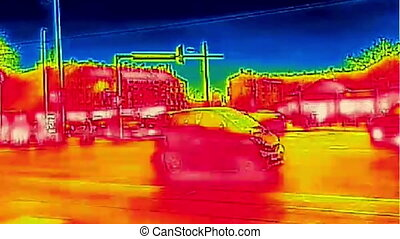 Traffic in the city Infrared thermal full hd video