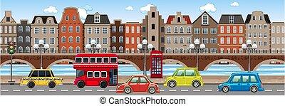 Traffic in the city scene