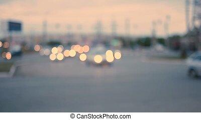 traffic in twilight.