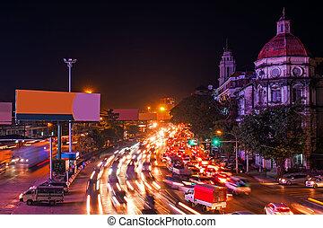 Traffic in Yangon Myanmar at night