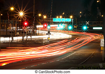 Traffic Intersection - Streaking Lights from moving traffic