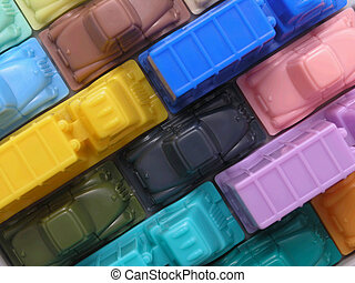 Traffic Jam 1 - Traffic Jam with multicolored busses and...
