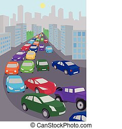An illustration of traffic jam with lots of colored cars