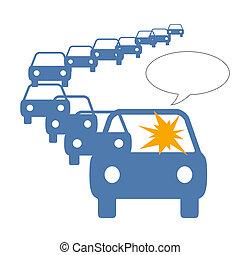 driver frustration in long line of traffic illustration