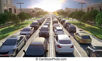 Traffic Jam at Rush Hour at Sunrise or Sunset. 3d animation....