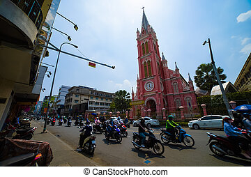 Traffic jam at Tan Dinh church in Ho Chi Minh Vietnam wide shot