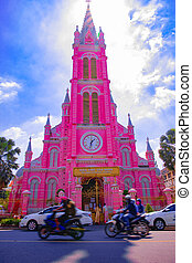 Traffic jam at Tan Dinh church in Ho Chi Minh wide shot