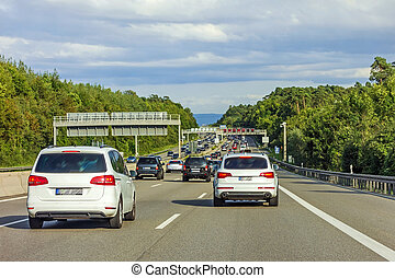 traffic jam, autobahn, germany - traffic jam - cars braking...
