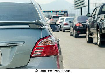 Traffic jam before toll gate, Pattaya Chonburi Thailand