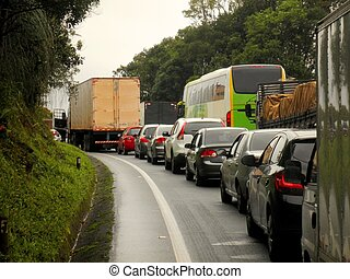 Traffic Jam Brazil Highway