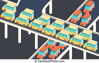 traffic jam car waiting stuck in line road city