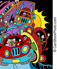 Traffic Jam - cartoon of people driving on the highway.