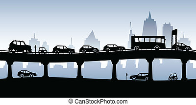 Cartoon silhouette of a traffic jam on a raised highway.
