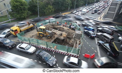 Traffic jam caused by road work
