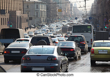traffic jam city life background