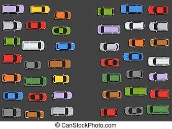 Traffic jam concept top view illustration.