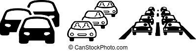 Traffic jam icon on white background