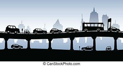 Traffic Jam - Cartoon silhouette of a traffic jam on a...