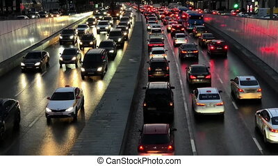 Traffic jam in city at night
