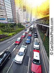 Traffic jam in Hong Kong downtown at day