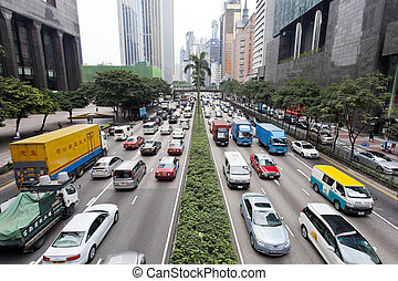 Traffic jam in Hong Kong - HONG KONG - FEB 9, Traffic jam at...