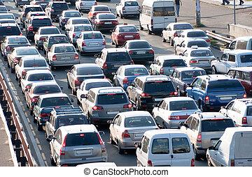 Traffic jam in Kiev. Ukraine