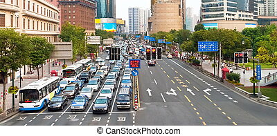 Traffic jam in Shanghai - Traffic jam stopped by a traffic...